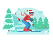 Mountain Skiing Man Riding On Winter Forest Stock Image