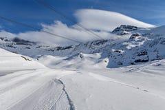 Mountain skiing - Plateau rose, trail in Zermatt Switzerland, Italy, Valle d`Aosta, Cervinia Royalty Free Stock Photo