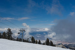 Mountain-skiing rope chair lift Stock Photos