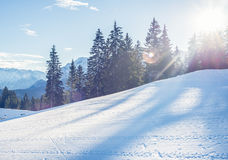 Mountain skiing slope in Garmisch-Partenkirchen resort  in Bavar. Mountain skiing slope in Garmisch-Partenkirchen resort in Bavarian Alps, Germany, in the day Stock Image