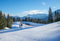 Mountain skiing slopes skiing at Hausberg top near Garmisch-Partenkirchen town Stock Photos