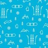 Mountain skiing or snowboarding concept seamless cute pattern blue Royalty Free Stock Images