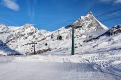 Mountain skiing - view at Matterhorn, Italy, Valle d`Aosta, Cervinia Royalty Free Stock Photo