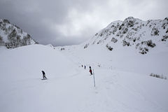 Mountain skitrack on the slope of Caucasus Royalty Free Stock Photos
