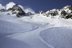 Mountain skitrack on the slope of Caucasus Stock Photos