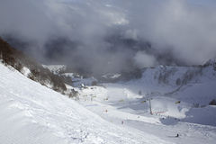 Mountain skitrack on the slope of Caucasus Stock Photo