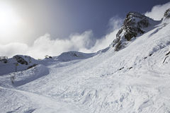 Mountain skitrack on the slope of Caucasus Royalty Free Stock Images