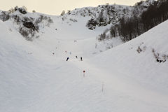 Mountain skitrack on the slope of Caucasus Royalty Free Stock Photo
