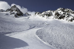 Mountain skitrack on the slope Royalty Free Stock Images