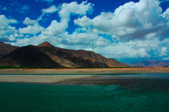 Mountain and sky. At Qinghai-Tibet Plateau Royalty Free Stock Photo