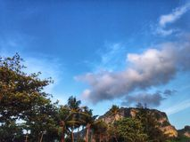 Mountain. And Sky cloud tree beach Royalty Free Stock Photo