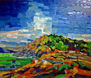 Mountain sky expression oil colors painting. Mountain sky house tick colors acrylic oil painting Stock Image
