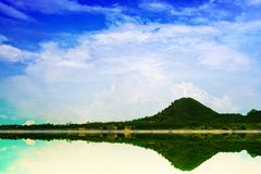 Mountain sky heap cloud and reflection on lake. Mountain blue sky heap cloud and reflection on lake stock images