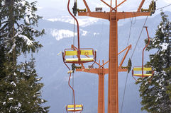 Empty mountain sky lift Royalty Free Stock Images