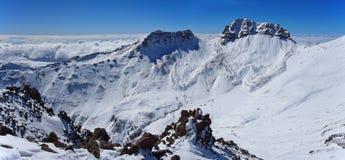 Mountain Aragats Armenia clouds sky. Mountain sky peaks snow sun blue snow Armenia Caucasus berg Royalty Free Stock Images