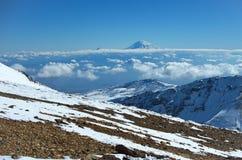 Mountain Aragats Armenia clouds sky. Mountain sky peaks snow sun blue snow Armenia Caucasus sky Stock Images