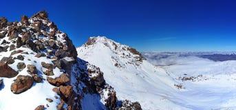 Mountain Aragats Armenia clouds sky. Mountain sky peaks snow sun blue snow Armenia Caucasus sky Stock Photo