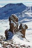 Near Mountain Aragats Armenia. Autumn in Armenia. Mountain sky peaks snow sun blue snow Armenia Caucasus sky Sun Stock Photo