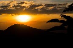 Mountain and sky at sunset stock photos