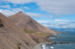 Mountain slides in east Iceland Stock Photography