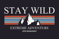 Mountain slogan typography graphics for t-shirt. Outdoor adventure print for apparel, tee shirt design. Vector. stock photography