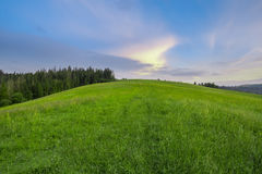 Mountain slope with green grass against the sky Royalty Free Stock Photography