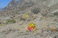 Mountain slope with self-made altars various occult deities. Royalty Free Stock Images