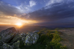 Mountain slope in summer at sunset Royalty Free Stock Photo