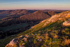 Mountain slope in the sunlight Stock Photography