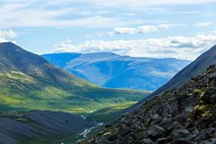 The mountain slopes of the Khibiny , Kola Peninsula,. Russia Royalty Free Stock Photo