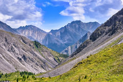 Mountain slopes and the peak in the summer Royalty Free Stock Photography