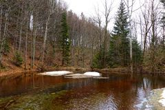 Mountain small lake during winter at Smrk near Ostravice village. Czech Republic, Beskydy Mountains. stock image