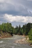 Mountain small river. Mountain small river with woody coast in a summer landscape under clouds Stock Image