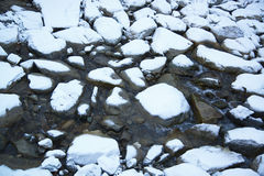 Mountain small river in the winter Alps in Austria Royalty Free Stock Photo