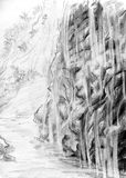 Mountain of small waterfalls. Pencil drawn sketch of a landscape Stock Photo