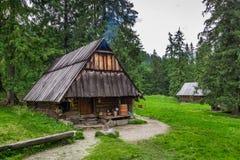 Mountain smokehouse in the village Stock Photography