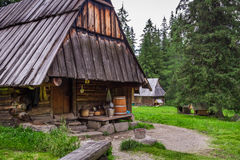 Mountain smokehouse in the village Royalty Free Stock Images