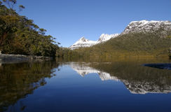 Mountain Snow Covered Cradle Mountain Tasmania Aus Stock Images