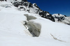 Mountain snow crack, bergschrund Stock Photography