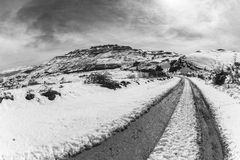 Mountain Snow Dirt Road Black White Stock Images