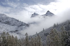 Mountain in the snow and fog Royalty Free Stock Photo