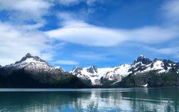 Mountain snow lake. At alaska Stock Images