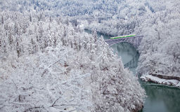 Mountain and snow with local train. Japan mountain and snow with local train in winter season at Mishima town , Fukushima prefecture Stock Photos