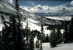 Mountain Snow Scene Stock Photography