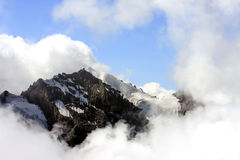 Mountain and snow seen from the Swiss Schilthorn Stock Images