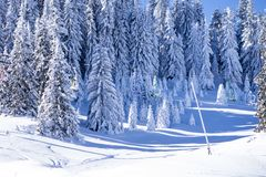 Snow ski lift. The mountain snow ski lift Royalty Free Stock Photography