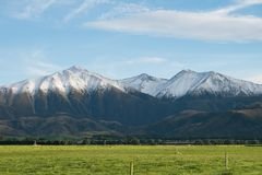 Mountain with snow in Springfield, West Coast, South Island, New Stock Photos