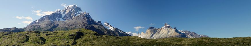 Torres del Piane in Torres del Paine National Park, Magallanes Region, southern Chile. Mountain with snow with Torres del Paine and Cuernos del Paine in the stock photography