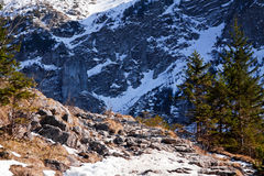 Mountain snowy landscape with rock path Royalty Free Stock Photos