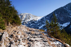 Mountain snowy landscape with rock path Royalty Free Stock Images
